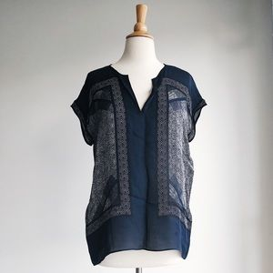 Vince Scarf Print Silk Blouse, Size S